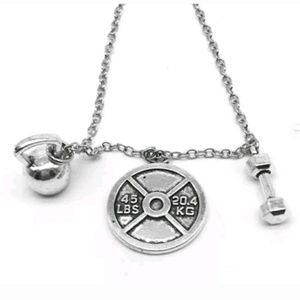 Dumbell barbell crossfit weight necklace